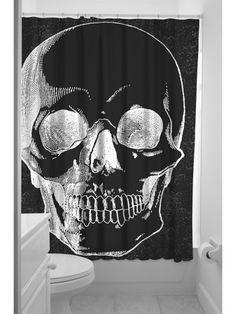 """Anatomical Skull"" Shower Curtain by Sourpuss Clothing #InkedShop #InkedMag #Anatomical #Skull #Shower #Curtain"