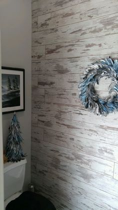 Loving our white washed laminate looks on the wall! #Inhaus #ShabbyChic #Laminate #AccentWall