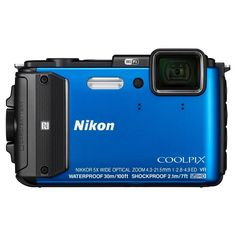 Nikon Coolpix AW130 16MP Waterproof Digital Camera with 5x Optical Zoom - Blue