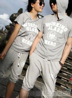Fascinating Loose Letters Print Comfortable Couple Outfits : Tidebuy.com