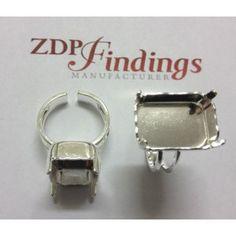 3a97ff49b595c9 18x13mm Octagon Adjustable Ring Bezel Silver Plated For Swarovski 4610