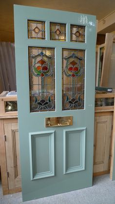 Art Nouveau Stained Glass Door Front Door - Just gorgeous! Victorian Front Doors, Wooden Front Doors, Front Door Entrance, Door Entryway, House Front Door, Painted Front Doors, Glass Front Door, Front Entrances, Entry Doors