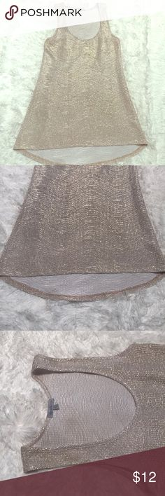Charlotte Russe Gold Sleeveless Blouse Beautiful shimmering XS Charlotte Russe sleeveless blouse. Slightly hi-lo style. Never worn, no tags. Beautiful top and excellent condition. Perfect top to add a little shimmer to your outfit. Charlotte Russe Tops Blouses