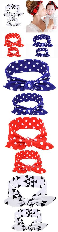 BQUBO Mommy and Baby Cute Elastic Headbands Head Wraps Knotted Hair Band