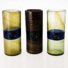 OIVA TOIKKA - Glass vases for Nuutajärvi Nostsjö, 1970's, Finland. [h. 26,5 cm, Ø 11 cm]