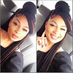 Love how she has her box braids styled.