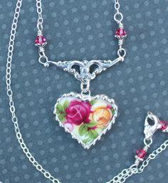 Broken China Jewelry China Heart Pendant by Robinsnestcreation1