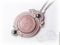 Купить Сутажный кулон - серый, розовый, розовый кварц, кварц, гематит, украшения с камнями