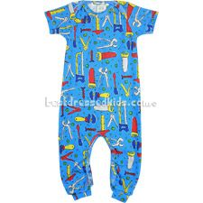Your little handyman will be extra comfy in this Thingamajiggies 4 Kids tools jumpsuit. 100% cotton. Made in U.S.A. .  .     blue jumpsuit .     short sleeves, long legs .     tools print .     lap shoulders .     leg snaps .