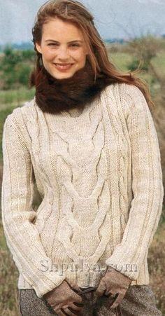 """Бежевый пуловер с узором """"косы"""", вязаный спицами"""