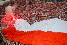 Poland's fans burn a flare before match.