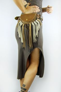 Brown leather pouch belt with fringe by crossfox on Etsy, $105.00