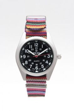 Black Dial Patterned Band Watch 2.0mm Band  quiero quiero!!!
