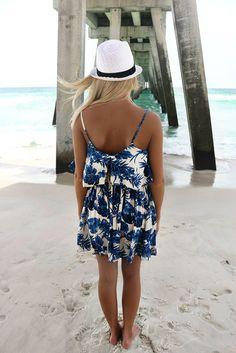 409d88b9aad5 Kauai Cream And Blue Floral Print Sundress