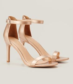 Primary Image of Metallic Ankle Strap Sandals