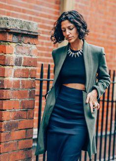 September 14, 2013 Tags Yasmin Sewell, Crop Tops, Necklaces, Navy, SS14 Women's, Skirts, London, Green, Women, Coats