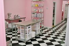 Specialty Birthday Cake Studio NJ - Work Room. I like how the tables are set up. I just don't want it to be so pink.