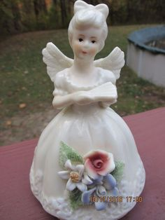 "Ceramic Floral Angel Bell White 5.5"" Tall"