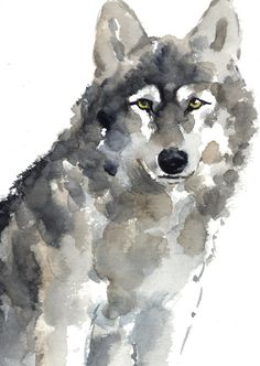 Wolf Watercolor Painting Animal Kids Room Decor by ColorWatercolor                                                                                                                                                                                 More