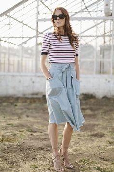 Samantha Wennerstrom wearing her Ulla Johnson Dinan Skirt