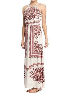 Womens Printed Poplin-Crepe Maxi Dresses  this and my brown boots