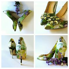 1 DAY SALE Madison Floral Heels Good pre-loved condition. Embellished toes. Madison Shoes Heels