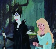 "Maleficent and Aurora - Disney's ""Sleeping Beauty"" 1959 animated film + Disney's Maleficent 2014 live action film"