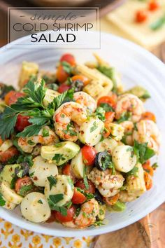 Ready in just about 5 minutes, this Simple Cold Shrimp Salad is as easy to make as it is delicious to eat! Perfect for lunch at the office or as a light meal, it could also be served as a side and would no doubt be a favorite at any given potluck! Cold Shrimp Salad Recipes, Prawn Recipes, Shrimp Appetizers, Shrimp Dishes, Seafood Recipes, Prawn Salad, Cucumber Salad, Pasta Salad, How To Cook Shrimp
