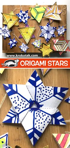 Crafts: Pokemon Snowflakes, Origami Stars, Paper Baubles and Fun Christmas Crafts Origami Star Paper, Origami Stars, Origami Easy, Diy Paper Christmas Tree, Diy Christmas Ornaments, Christmas Art, Christmas Crafts For Kids, Christmas Activities, Theme Noel