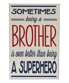 Take a look at this Cream & Navy Brother Superhero Wall Art by Vinyl Crafts on #zulily today!