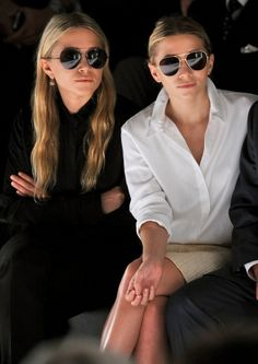 front row style, aviator sunglasses on Mary Kate and Ashley Olsen