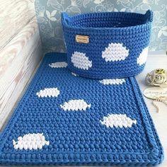 ОТЛИЧНЫЕ ИДЕИ ДЛЯ ДОМА, ДЛЯ УЮТА. » Сделай Сама. Шитье. Вязание. Рукоделие Crochet Rug Patterns, Crochet Basket Pattern, Knit Basket, Crochet Designs, Crochet Stitches, Crochet Baskets, Crochet Box, Knit Or Crochet, Crochet Gifts