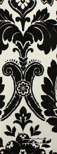 Plush Flocked Wallpaper Heritage Damask White/Black Velvet | designyourwall.com