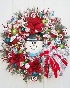 Snowman Winter Holiday Christmas Wreath por UpTownOriginals
