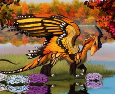 interesting mix of dragon and butterfly.  This artist has a few of them. Monarch by hibbary