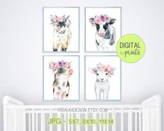 Set of 4 Flower Farm Animal Prints Goat Sheep Cow Pig Farmhouse Baby Animal Nursery Wall Decor, Printable animal art for girls nursery #etsy #prints #farmnurseryy #nurserywallart
