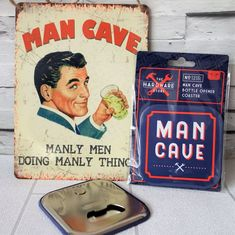 Our fabulous retro style Vintage metal sign is now coupled with a pair of amazing man cave coasters That wait for it Have bottle openers on the back