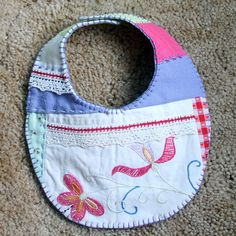 Crazy Quilted Baby Bib Recycled Vintage by FruitOfMyHands on Etsy