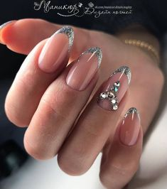 Popular Gel Nail Designs Trend In 2019 Silver Nail Designs, Best Nail Art Designs, Beautiful Nail Designs, French Nails, Silver French Manicure, Nails 2018, Prom Nails, Fun Nails, Nail Art Design Gallery
