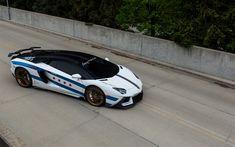 Download wallpapers Lamborghini Aventador, white supercar, sports coupe, tuning Aventador, Chicago Rally Cars