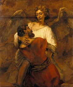 """""""Jacob Wrestling with the Angel"""" in 1659 by Rembrandt (1606-1669). Oil on canvas (116x137cm).includes the blessing and the renaming of Jacob as Israel...Love you"""