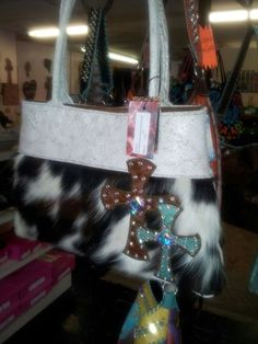Kurtmen ALIDA with Bone Crackle Leather and Tri Color Hair on Hide and Crystal AB Swarovski Crystals.  $385.00