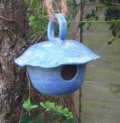 Lucky birds in my garden.....Bird house, nesting box or feeder in stoneware...fully weatherproof.