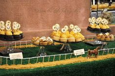 """Kentucky Derby """"race track"""" dessert table with brown sugar sand"""
