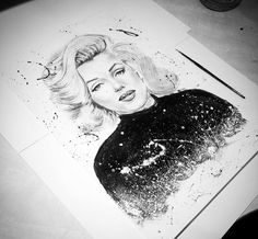 Marilyn Monroe,acylic,mechanical pencil and graphite. 30x40cm.  #MarilynMonroe