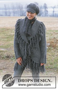 DROPS Cardigan with large collar, scarf & crochet cap. Free pattern by DROPS Design. Pull Crochet, Crochet Cap, Crochet Poncho, Crochet Scarves, Crochet Clothes, Knitting Designs, Knitting Patterns Free, Free Knitting, Free Pattern
