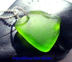 DRILLED Sea Glass  Lime Green  Small Sea Glass by aquablueseaglass, $8.99