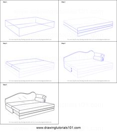 How to Draw Sofa cum Bed printable step by step drawing sheet : DrawingTutorials101.com