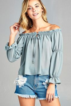 a94cca638511b1 Women s Puff Long Sleeve Ruffled Front Tie Off Shoulder Top – Urban Haven  Shop Shirt Blouses