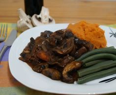Mushroom Bourguignon with Sweet Potato Mash and Green Beans